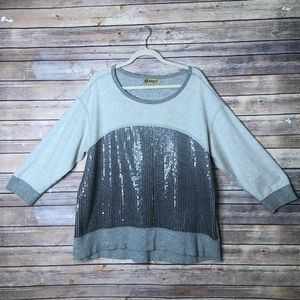 Democracy ¾ sleeve sequin front top 1X